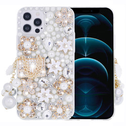 For iPhone 12 Pro Max Mini Case 11 Xs Xr X 8 7 6s Plus Case Women Sparkly Rhinestone Diamond Flower Clear Cover