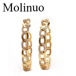 chain link hoop earrings Australia - Molinuo 42-45mm Popular hoop Earrings With CZ link chain desgin Circle Earrings GOLD color fashion Big Circle For Women1