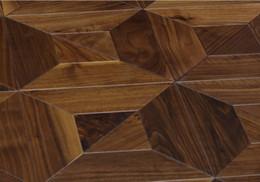 Venta al por mayor de Balck American Walnut Suelo de madera Parquet de madera lujosas villas de la sala de estar decoración de la alfombra artesanía decoración de muebles cubrir azulejos de pared Revestimiento de la pared Medallón