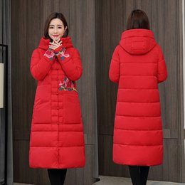 Wholesale long coats china for sale – winter Vintage Women s Parka Coats Autumn Winter Thick Stand Collar China Embroidered Floral Long Jackets Wdc6199