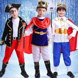 Children's Fairy Tale Character Boy Pirate King Papel Play Prince Traje Mostra Terno