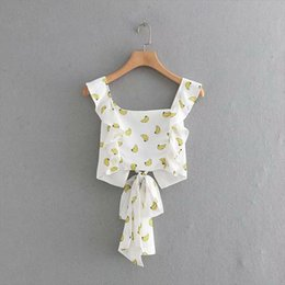 ruffle back blouse Australia - Newest women banana print back bow tie square collar crop top ruffles decorate sweet female stylish short blouses