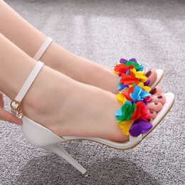 Wholesale rubber maid resale online - ladies Summer nine inches high heels white maid of honor wedding word flower stiletto Roman sandals for woman shoes a0013 TXTN