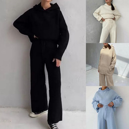 Wholesale korean suit female for sale - Group buy Women Winter Tracksuit Piece Pant Suits Knitted Long Sleeve Two Piece Set Top And Pants Female Suit Outwear Korean
