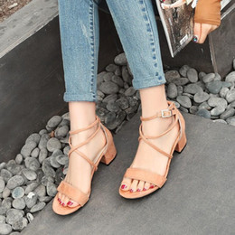 Discount high heels size 14 Plus Size 10 11 12 13 14 15 16 high heels sandals women shoes woman summer ladiesRoman sandals with thick heels and buckles1