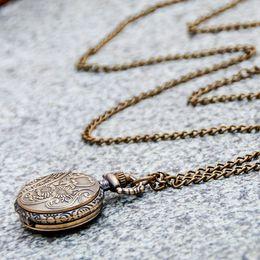 Quartz new small carven ancient wheel pocket watch necklace vintage accessories wholesale Korean edition sweater chain fashion watch on Sale