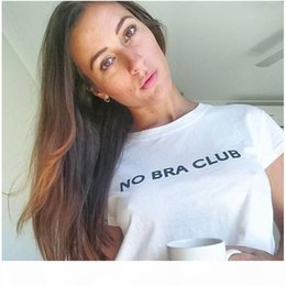 Wholesale no bra club resale online - New Sexy Crop Top NO BRA CLUB Women T shirt White Cotton O Neck Brief Sheer Short T Shirt Casual Street Tops