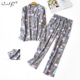 pajamas cats 2021 - Autumn Winter Long Sleeve Pajamas Sets Women's Cotton Cartoon Sleepwear Cute Cat Pyjama Suit Femme Casual Homewear