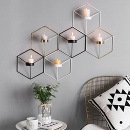 wrought iron home decor UK - Wrought Iron Geometric Candlestick Decoration 3d Wall Candle Holders Shelf Tealight Candle Stand Bar Home Decor Metal Crafts sqcYfv bdenet