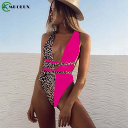 sexy string bodysuit 2021 - 2020 New Leopard bikini deep v-neck bathing suit women monokini String sexy swimsuit one piece bodysuit High cut swimwear women1