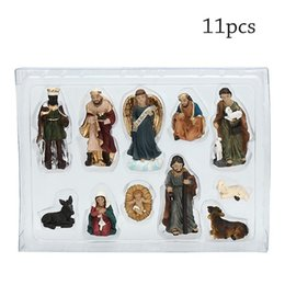 Discount baby jesus Statue Nativity Scene Set Baby Jesus Manger Christmas Crib Figurines Miniatures Ornament Church 2021 Xmas Gift Home Decoration