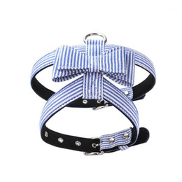 chest collar for dogs UK - Pet Striped Anti-Explosion Harnesses Bow Knot Vest Chest Belt For Dogs, Navy Blue Pink Black Collar Pet Dog Supplies1