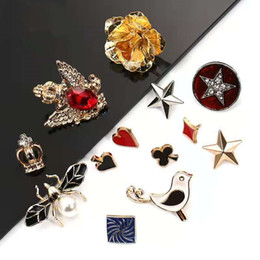 Metal brooch, all-match clothes collar, decorative buttons, shirt shirts, anti-light, dark buttons, free sewing buttons on Sale