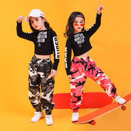 camouflage tutu Australia - Children Hip Hop Clothing Sweatshirt Top Crop Shirt Camouflage Casual Pants for Girl Dance Costume Ballroom Dancing Clothes Wear 201126