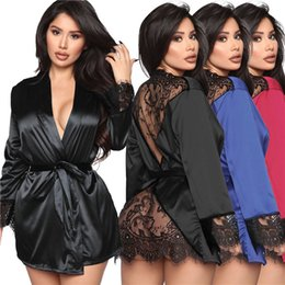 Wholesale womens pajamas resale online - Womens Lace Sleepwear Sexy See Through Cardigan Home Wear Bathrobe Fashion Sexy Women Long Sleeve Pajamas