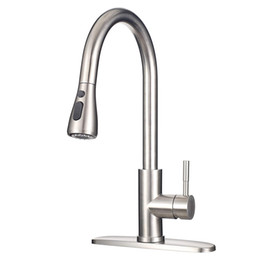 Commercial Modern Stainless Steel Brushed Nickel Kitchen Faucet with Pull Down Sprayer High Arc Single Handle Sink Faucets with Deck Plate