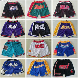 Wholesale Team Basketball Short Just Don Sport Shorts Hip Pop Pant With Pocket Zipper Sweatpants Blue White Black Red Pink Mens Stitched Good as