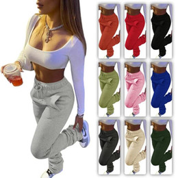Women Pants Designer Sports Casual Drawstring Stacked Trousers Stack With Pockets 10 Colours Ladies New Fashion Leggings jogger Pants ZYY310 on Sale