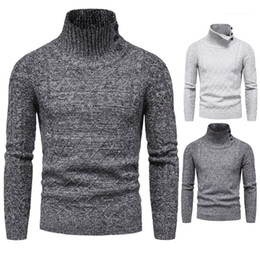 turtle top Canada - and Winter Mens Turtle Neck Sweaters Fashion Designer Slim Fit Long Sleeved Tops Solid Color Sweaters Autumn