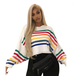 Wholesale colorful fashion tops for sale - Group buy Sweaters Womans Jumper Women Knit Sweater Tops Colorful Stripe Print O Neck Long Sleeve Casual Sweater Autumn Fashion Pullover1