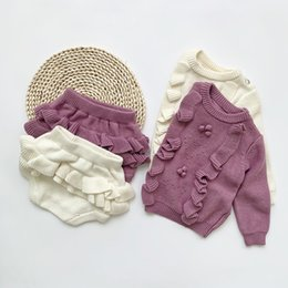 Autumn 2020 New Baby Girls Sweater Suit Sweet Hollowed Out Sweater Set Wool Ruffle Pullover+Shorts Hand Hook Wool Ball Suit on Sale