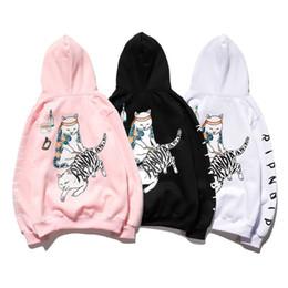 Wholesale ripndip hoodies online – oversize Men and women couples fall winter RIPNDIP base cat middle finger cat sweater plus velvet loose hoodies