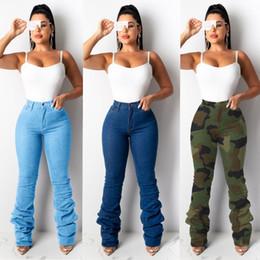 Damer nya mode staplade jeans byxor hög midja kamouflage denim jeans för kvinnor mamma byxor breda ben byxor