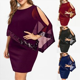 v neck cold shoulder dress UK - Women Solid Color Round Neck Irregular Sequins Patchwork Cold Shoulder Dress vestidos Dress Women Summer Dresses