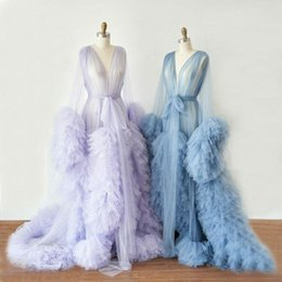 Maternity Robes Boutique Occasion Dresses Women Long Tulle Bathrobe Dress Photo Shoot Birthday Party Bridal Fluffy Evening Sleepwear Custom Made Gown 2021