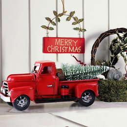 Wholesale truck tops for sale – custom Vintage Red Metal Truck Kids Gifts Christmas Party Table Top Decor for Home