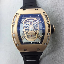 Discount mechanical skull watches Luxury Richard rm052 Japanese mechanical movement Black Skull dial glass back men's fashion watch black rubber 18k