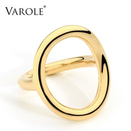 VAROLE New Arrival Cold Wedding Rings for Women Irregular Korean Simple Style Round Copper Ring jewelry Wholesale