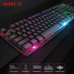 Discount backlight keyboard mechanical iMICE Gaming Keyboard Steam Punk 104 Keys Keypad LED Backlight USB Wired Keyboards Waterproof Mechanical Computer Gamer