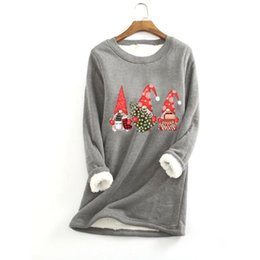 Discount woman christmas blouses Christmas Print Blouse Women Thick Fleece Printing Sweatshirt Warm O-neck Underwear Top Harajuku 3xl Plus Large Size Blusas