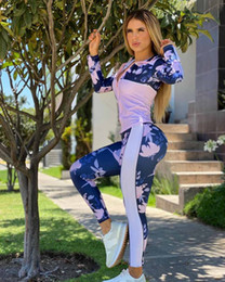 Wholesale tracksuits for womens resale online - Womens Active Tracksuits Fashion Flowers Pattern with Stripe Outfits Autumn Jacket Leggings for Trendy Pieces Sets