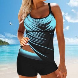 Wholesale ladies swimsuit tankini resale online - S XL Women Ladies Swimsuit Plus Size Print Tankini Swimjupmsuit Swimsuit Beachwear Padded Swimwear Biquinis Feminino J1208
