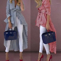 Wholesale high necked blouses resale online - Women s High Low Asymmetrical Shirt Clothes Striped V Neck Blouse Wide Hem Long Sleeve Dress with Belt Casual Tops1