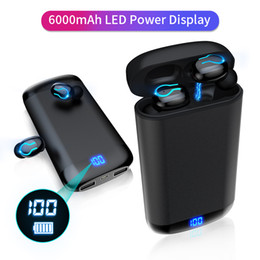 Brand Wireless Blue-tooth Earphones HD Stereo Headphone Sports Waterproof Headset With Mic 6000mAh Battery Charge Case power bank