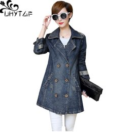 Wholesale double breasted plus size coat resale online - UHYTGF XL Plus size denim jacket Women clothing Medium length Double breasted Loose jeans jacket fashion female autumn coat