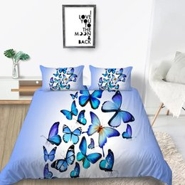 unique duvet cover sets Canada - Hot Sale Bedding Set Butterflies Creative Elegant Duvet Cover Blue King Queen Twin Full Single Double Unique Design Bed Set