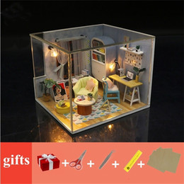 castle doll houses Canada - Wooden doll House furnitures kids diy dollhouse miniatures with LED light 3D kit birthday Gift house model toys for children 201217