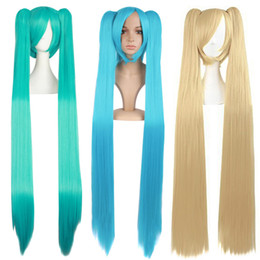 Wholesale cosplay anime girl japanese for sale - Group buy Wig for cosplay MIKU cosplay Long straight hair Japanese cute fashion Cyan adorable anime for girls hot sales in Asia