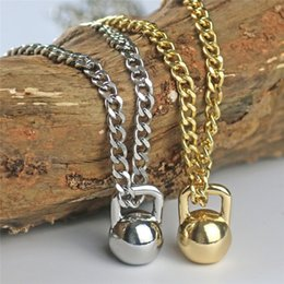 kettlebell jewelry Australia - Hot Sell Gold Silver Color Alloy Mens Barbell Kettlebell Pendant Necklace for Male Sports Fitness Jewelry
