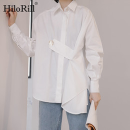 Wholesale white batwing blouse resale online - HiloRill Lady White Blouse Button Batwing Long Sleeve Chic Shirt Women Spring Turn Down Collar Loose Fashion Ladies Tops Blusas B1202