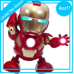 2019 New Arrivals for children  dance robot with music and light  Children's explosion models Q version Iron toys on Sale