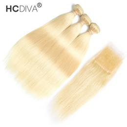 Peruanisches Reines Haar gerade / kinky curly mit Spitzenverschluss mit Babyhaar Brasilianisch 613 Blondes Haar 3 Bündel mit 4 * 4 Schließung im Angebot