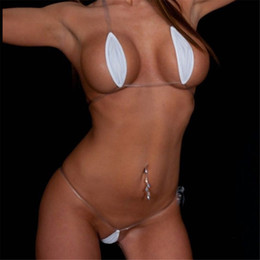 ingrosso white transparent swimwear-Micro Bikini trasparente invisibile ovale sexy Belt White Beach Sun Bath Swimwear Costume donna Biquini Mini Bikini