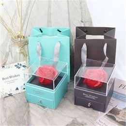 Cartes Rose Boîte Valentine Cadeau Fleur Boîtes de bijoux Infaire roses avec surprise 100 langues je t'aime collier Cadeaux étranges cadeaux pour la mère petite amie en Solde