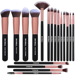 rose gold makeup brush set Australia - BS-MALL Makeup Brush 18-piece high-end synthetic professional eye shadow brush set for blending eye shadow and concealer eyeliner (rose gold