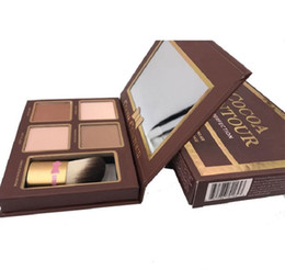In stock COCOA Contour Kit Highlighters Palette Nude Color Cosmetics Face Concealer Makeup Chocolate Eyeshadow with Contour Buki Brush on Sale